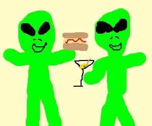 Alien enjoys hotdogs and martinis