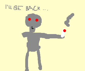 One-armed Terminator having a smoke