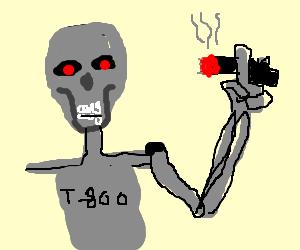 Fleshless terminator holding black cigar