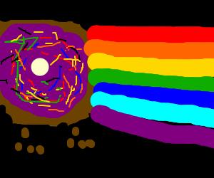 jellydonutdog makes space rainbow trail