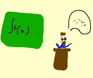 A professor mid-lecture