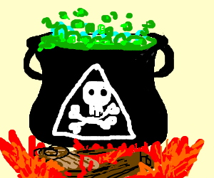 pirate cauldron boiling over campfire