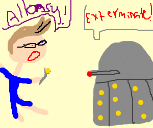 Doctor Who in jammies fends off Daleks