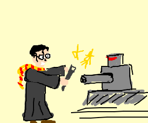 Harry Potter casts spell on robot turret