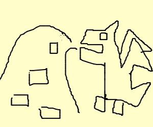 Polygonal dragon is puking rectangle