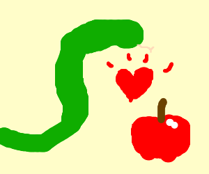 Big snake falls in love with an apple