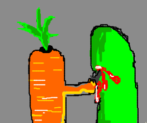 Carrot killing cucumber with a knife