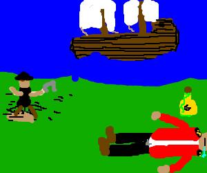 Pirate escapes as Royal Navy guard sleep