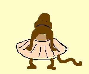 Monkey, sad about having to wear a tutu