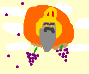 God plays with a large bunch of grapes