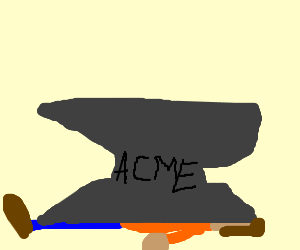 Man squished by anvil