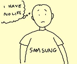 Man in Samsung jersey is empty inside