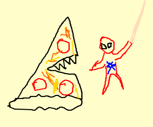 Pizza the Hutt tries to eat Spiderman