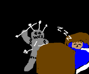 voodoo doll about to stab sleeping man