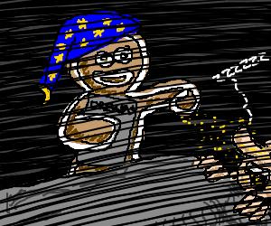 Gingerbread man moonlights as Sandman