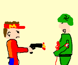 A guy from McDonalds shooting a Nazi
