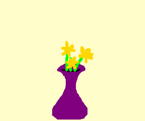 three yellow flowers in a purple vase