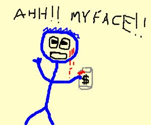Blue man scratches face on money jar
