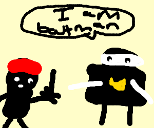 kid gives batman the finger.