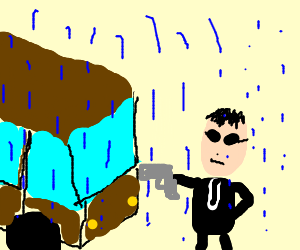 vigilante stopping a bus with a gun in the rain