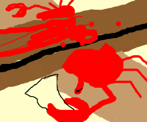Crab suicide on RR tracks. So sad.