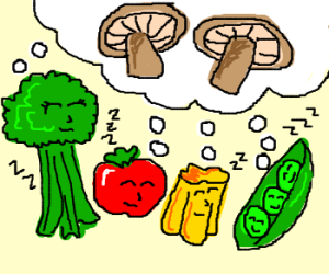 Vegetables dream of Mushrooms