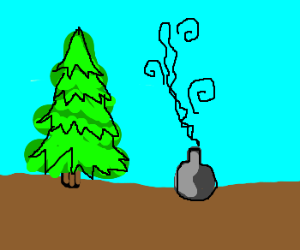 Smoking vase next to fir tree