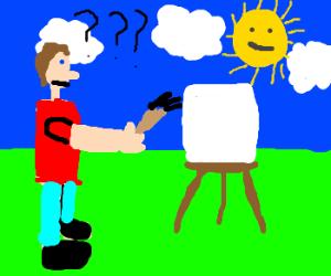 Painter don´t know what he should paint