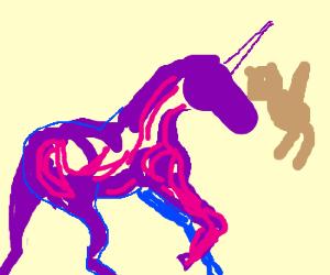 Purple &pink unicorn headbutts teddybear