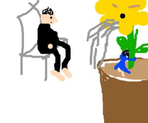 man watches woman hug vomiting flower