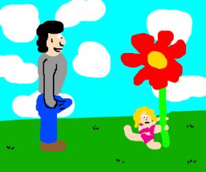 Tiny gal poledances a flower, guywatches