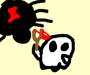 Giant Arachnid vs. Ghost with slingshot.