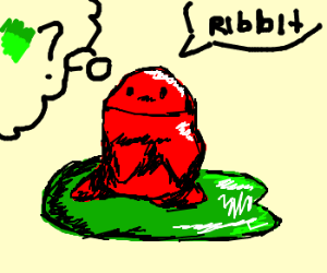 red frog philosophizes about being green