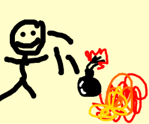 stick figure throws bombs on fire