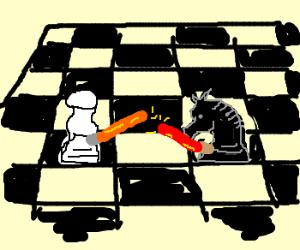 Chess lightsaber battle, pawn vs knight