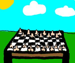 Ron Jeremy's chess set