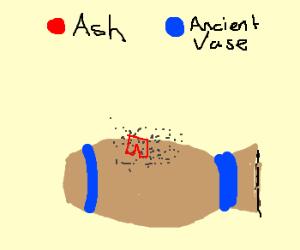 Ash wrestilng an ancient vase