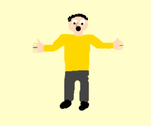 Man twelve finger, one orange, one green