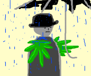 Grey man w/weedy arms and broke umbrella