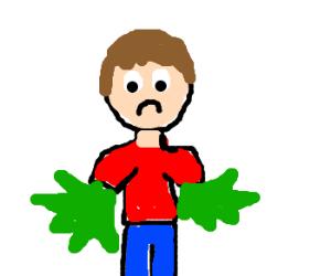 A depressed man with marijuana arms