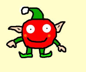 Christmas elf is actually a tomato
