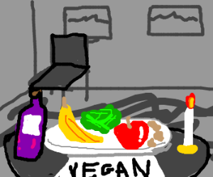 romantic vegan color meal in grey world