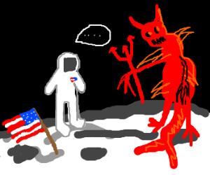 Astronaut finds Satan on the moon