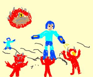 demon vs guy in blue