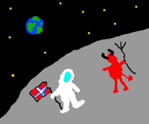 Astronaut meets Satan on the moon