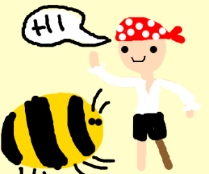 bald pirate talks to wingless bees