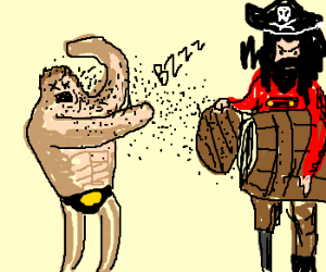 Pirate kills wrestler with insect plague