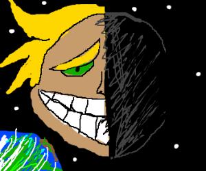 Creepy man in the half-full moon