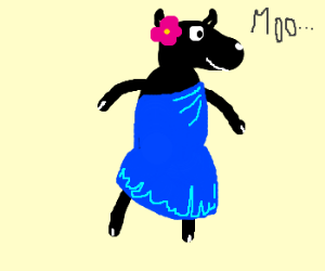 a cow in a jumper mooning. - Drawception