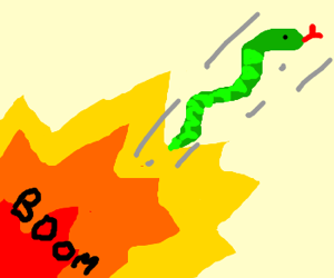 snake jumping from explosion